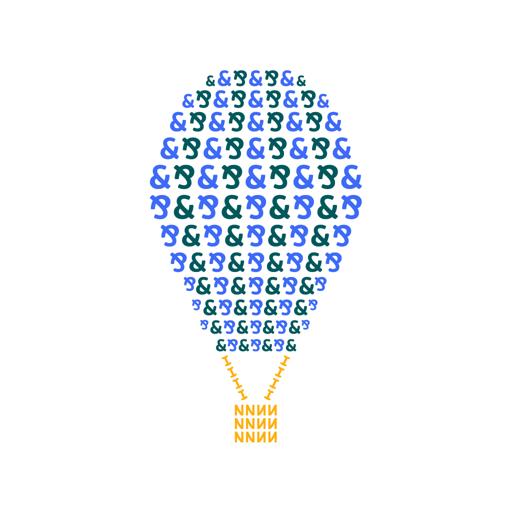 Object illustration of hot air balloon using letters from NS and I