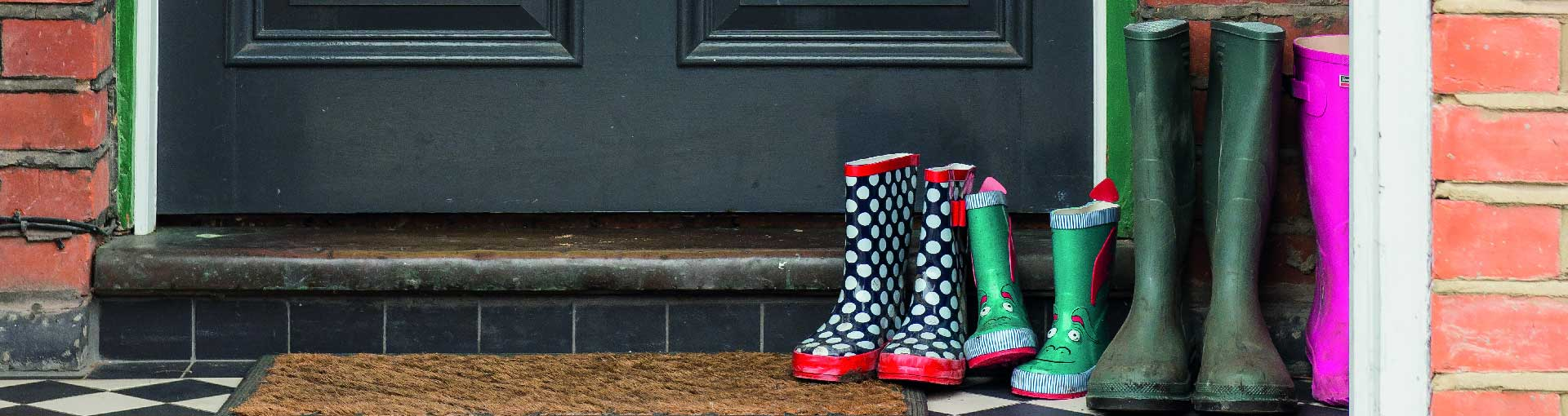 Front door and wellington boots